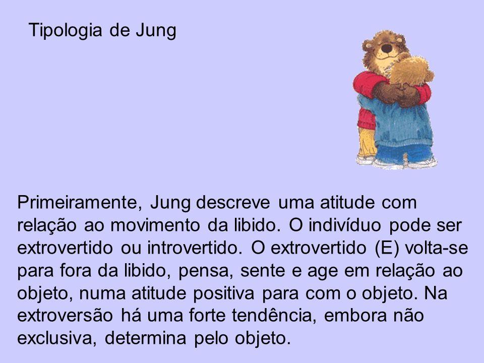 Tipologia de Jung Primeiramente, Jung descreve uma atitude com relação ao movimento da libido. O indivíduo pode ser extrovertido ou introvertido. O ex