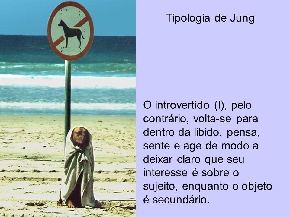 Tipologia de Jung O introvertido (I), pelo contrário, volta-se para dentro da libido, pensa, sente e age de modo a deixar claro que seu interesse é so