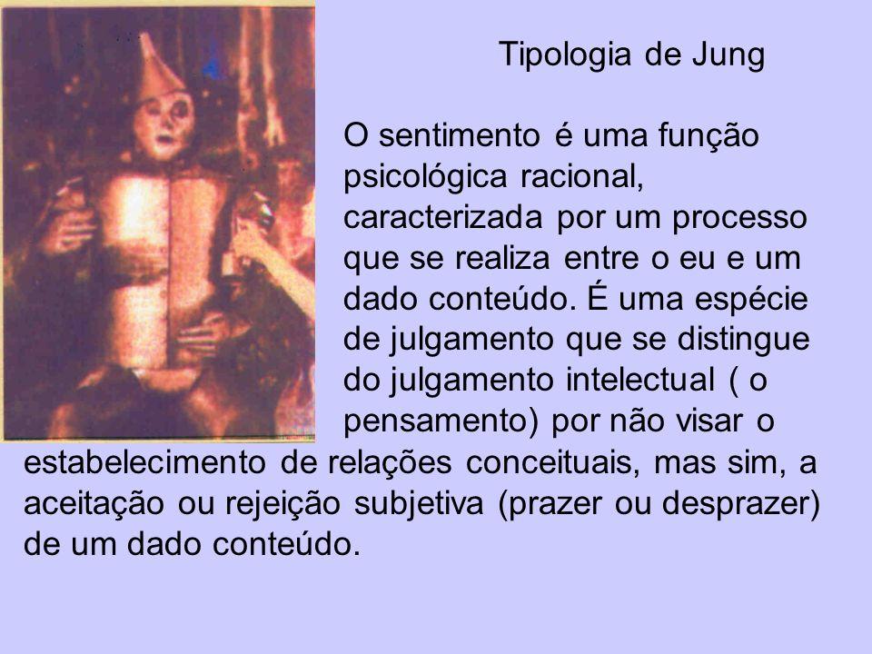 Tipologia de Jung O sentimento é uma função psicológica racional, caracterizada por um processo que se realiza entre o eu e um dado conteúdo. É uma es