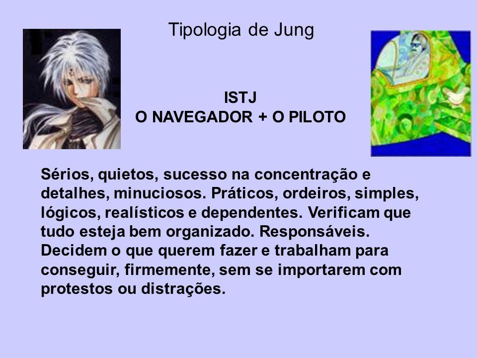 Tipologia de Jung ISTJ O NAVEGADOR + O PILOTO Sérios, quietos, sucesso na concentração e detalhes, minuciosos. Práticos, ordeiros, simples, lógicos, r