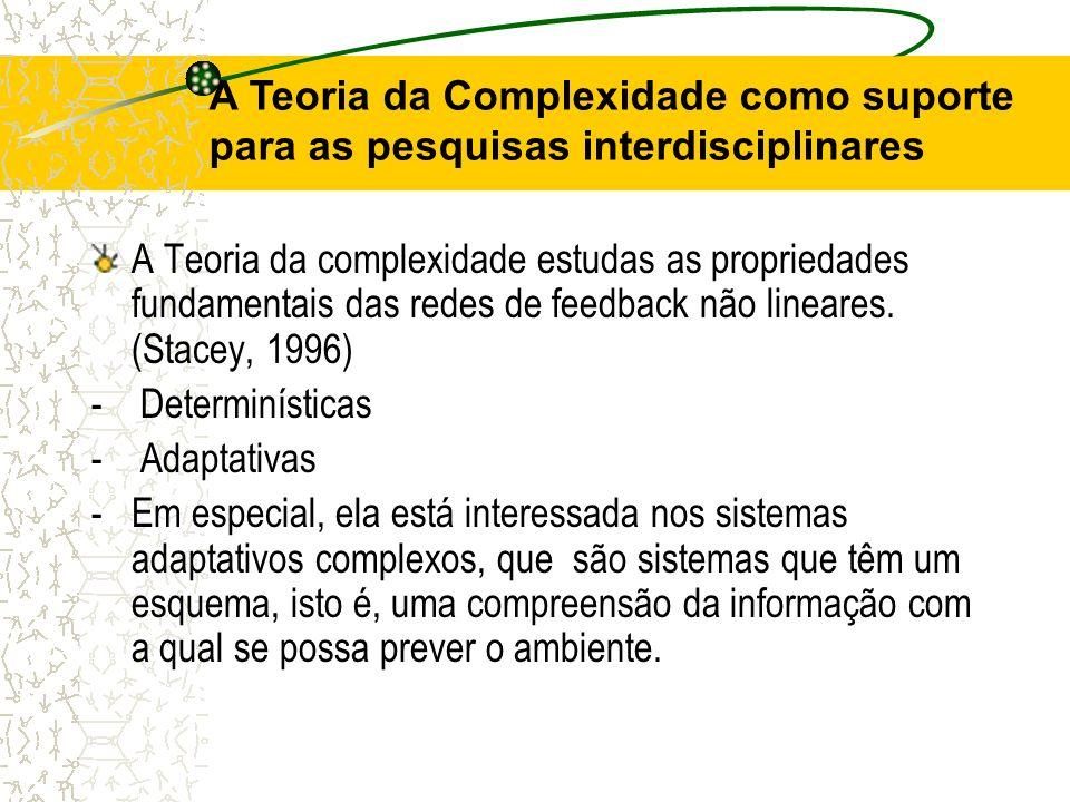 A Teoria da complexidade estudas as propriedades fundamentais das redes de feedback não lineares. (Stacey, 1996) - Determinísticas - Adaptativas - Em