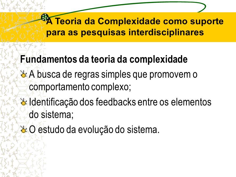 A Teoria da Complexidade como suporte para as pesquisas interdisciplinares Fundamentos da teoria da complexidade A busca de regras simples que promove