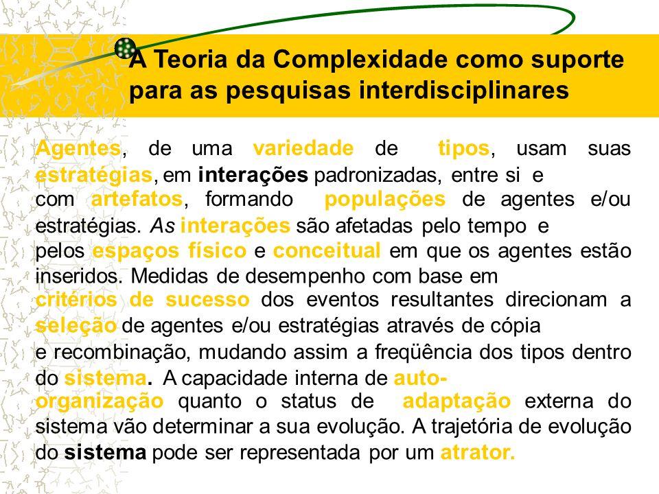A Teoria da Complexidade como suporte para as pesquisas interdisciplinares Agentes, de uma variedade de tipos, usam suas estratégias, em interações pa