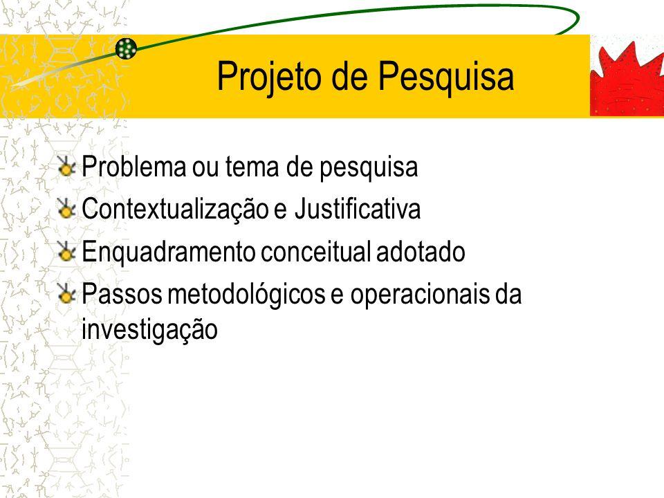 Projeto de Pesquisa Problema ou tema de pesquisa Contextualização e Justificativa Enquadramento conceitual adotado Passos metodológicos e operacionais