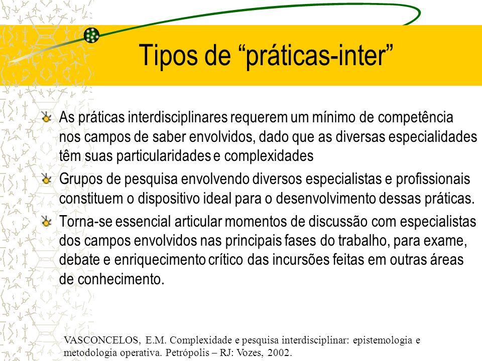 Tipos de práticas-inter As práticas interdisciplinares requerem um mínimo de competência nos campos de saber envolvidos, dado que as diversas especial