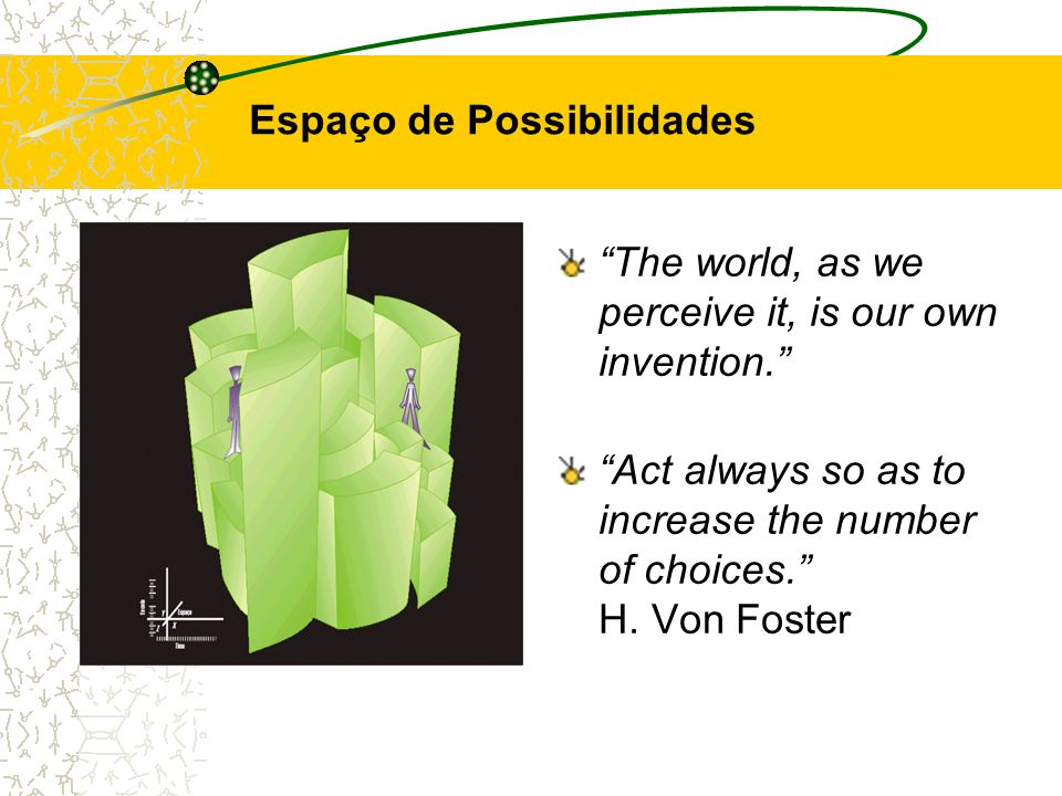 The world, as we perceive it, is our own invention. Act always so as to increase the number of choices. H. Von Foster Espaço de Possibilidades