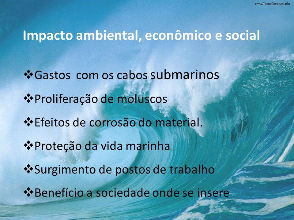 Impacto ambiental, econômico e social Gastos com os cabos submarinos Proliferação de moluscos Efeitos de corrosão do material. Proteção da vida marinh