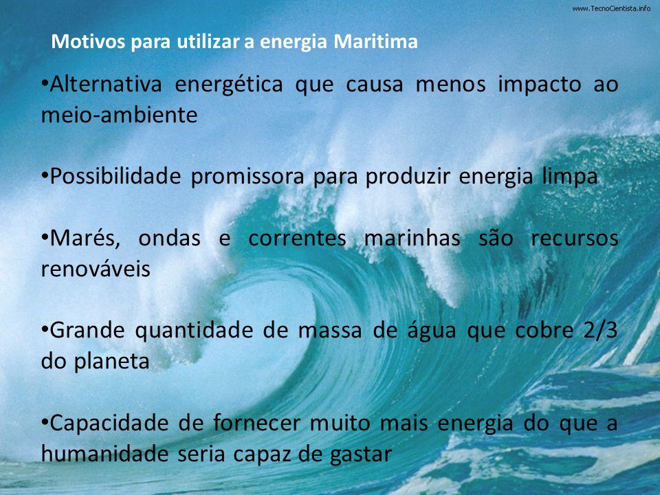 Alternativa energética que causa menos impacto ao meio-ambiente Possibilidade promissora para produzir energia limpa Marés, ondas e correntes marinhas