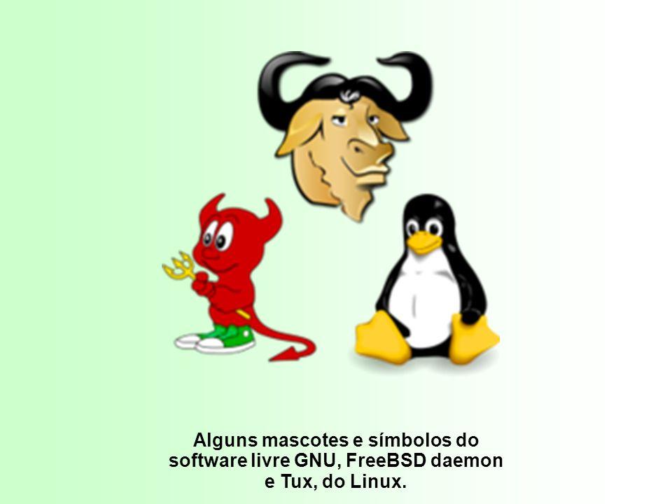 Alguns mascotes e símbolos do software livre GNU, FreeBSD daemon e Tux, do Linux. T u xT u x.