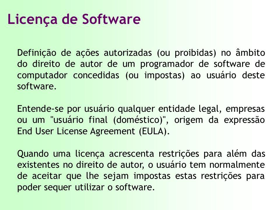 Licença de Software Definição de ações autorizadas (ou proibidas) no âmbito do direito de autor de um programador de software de computador concedidas