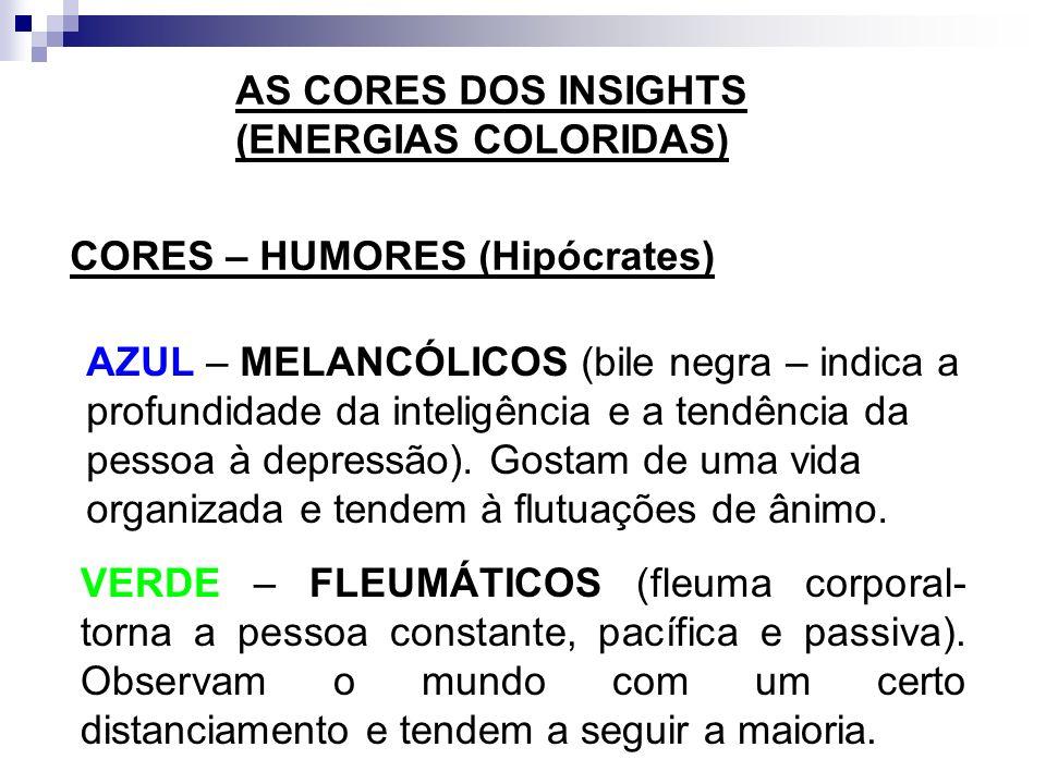 AS CORES DOS INSIGHTS (ENERGIAS COLORIDAS) CORES – HUMORES (Hipócrates) AMARELO – SANGUÍNEOS (sangue – relacionado ao otimismo e à alta energia). Extr