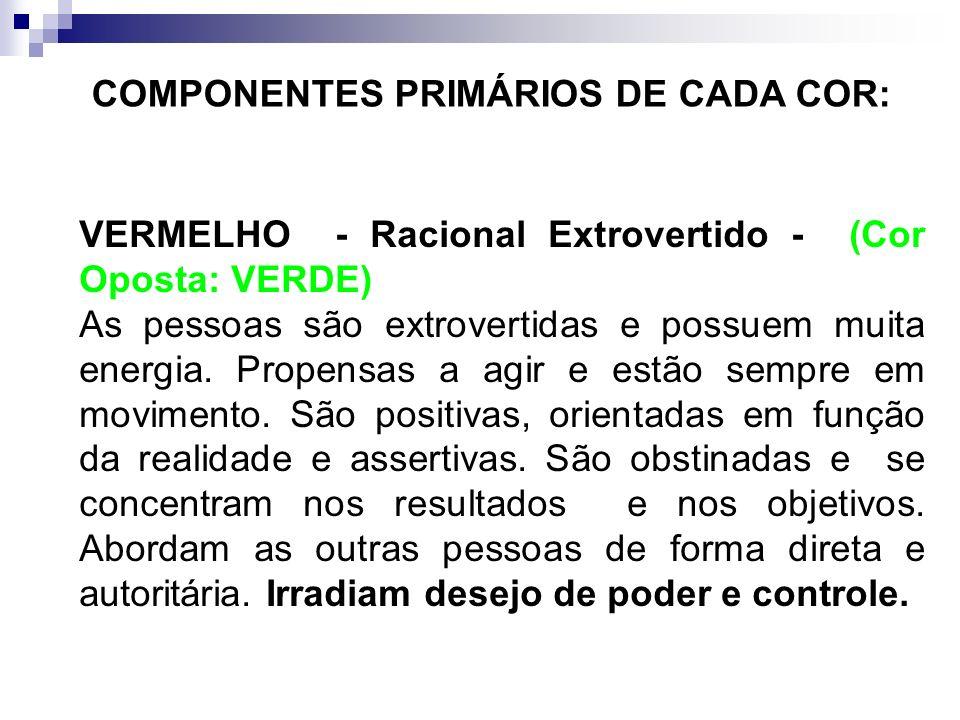 COMPONENTES PRIMÁRIOS DE CADA COR: AMARELO – Sentimental Extrovertido - (Cor Oposta: AZUL) São acentuadamente extrovertidos, radiantes e amigáveis. No
