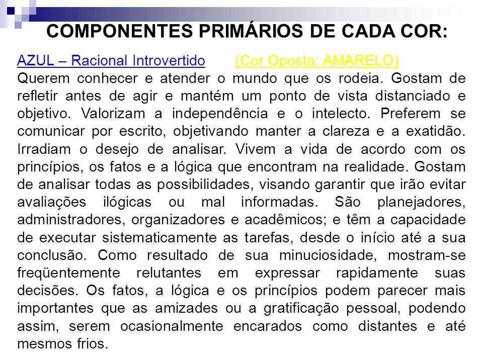 COMPONENTES PRIMÁRIOS DE CADA COR: VERMELHO - Racional Extrovertido - (Cor Oposta: VERDE) As pessoas são extrovertidas e possuem muita energia. Propen