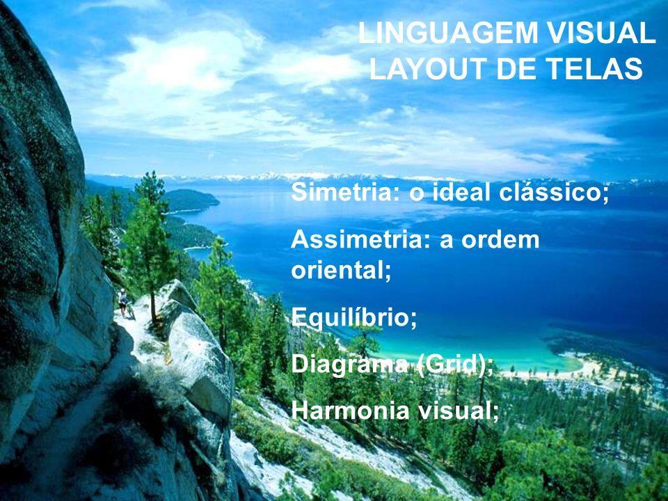 LINGUAGEM VISUAL LAYOUT DE TELAS Layout de tela é um processo de composição de elementos gráficos interativos. Os princípios de design que estão à ele