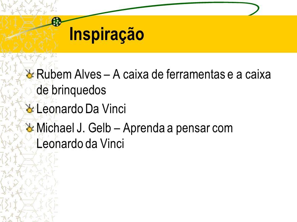 Inspiração Rubem Alves – A caixa de ferramentas e a caixa de brinquedos Leonardo Da Vinci Michael J. Gelb – Aprenda a pensar com Leonardo da Vinci
