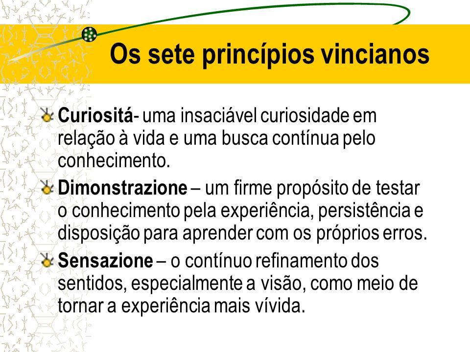 Os sete princípios vincianos Curiositá - uma insaciável curiosidade em relação à vida e uma busca contínua pelo conhecimento. Dimonstrazione – um firm
