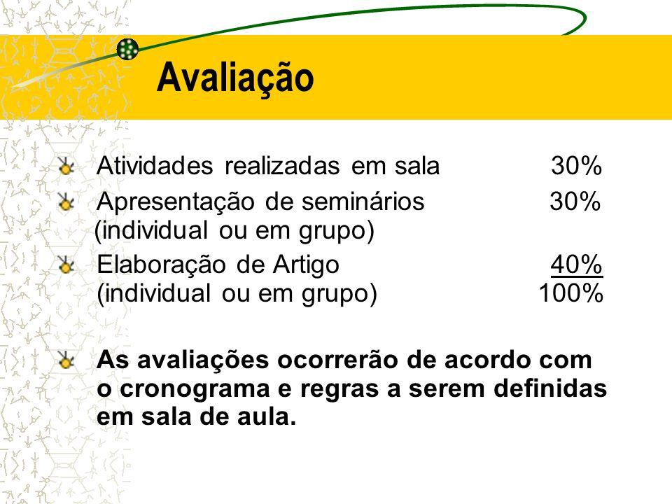 Avaliação Atividades realizadas em sala 30% Apresentação de seminários 30% (individual ou em grupo) Elaboração de Artigo 40% (individual ou em grupo)