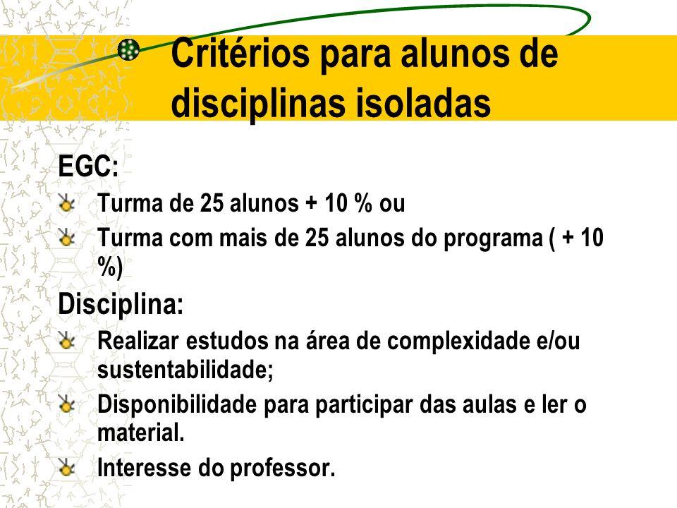 Critérios para alunos de disciplinas isoladas EGC: Turma de 25 alunos + 10 % ou Turma com mais de 25 alunos do programa ( + 10 %) Disciplina: Realizar