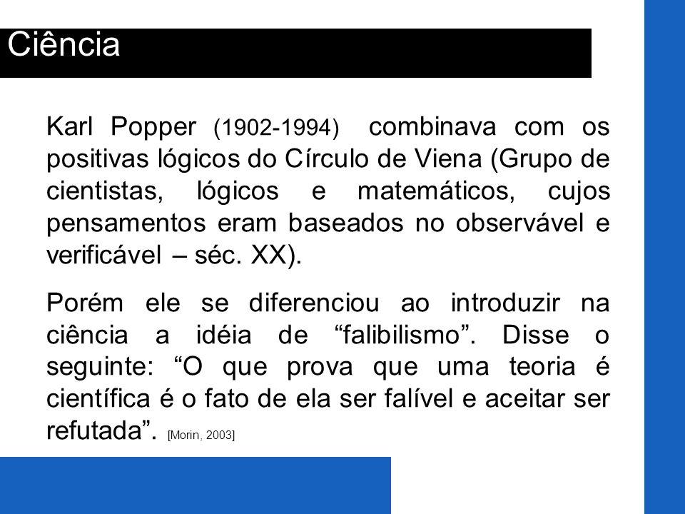 Ciência Karl Popper (1902-1994) combinava com os positivas lógicos do Círculo de Viena (Grupo de cientistas, lógicos e matemáticos, cujos pensamentos