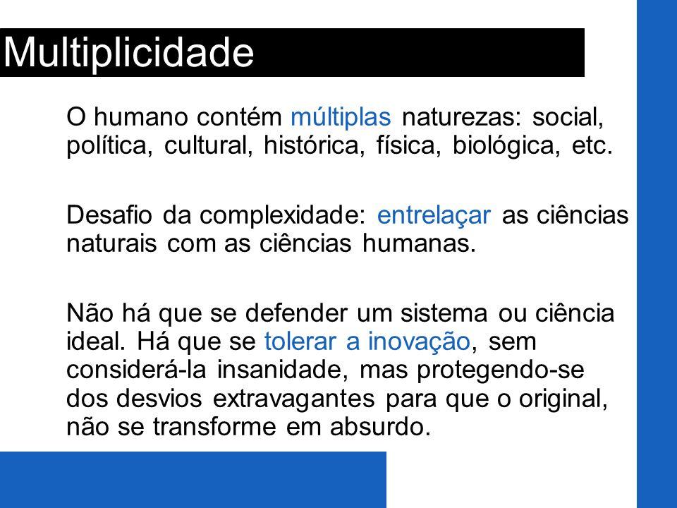 O humano contém múltiplas naturezas: social, política, cultural, histórica, física, biológica, etc. Desafio da complexidade: entrelaçar as ciências na