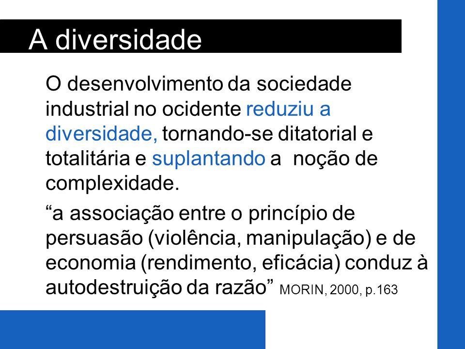 O desenvolvimento da sociedade industrial no ocidente reduziu a diversidade, tornando-se ditatorial e totalitária e suplantando a noção de complexidad