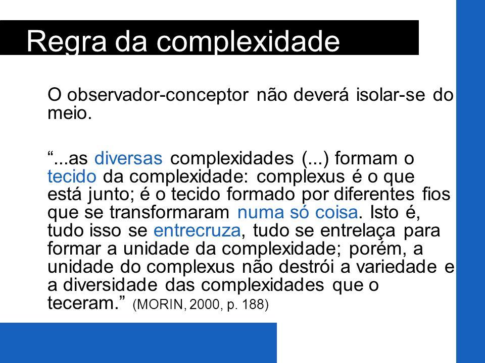 O observador-conceptor não deverá isolar-se do meio....as diversas complexidades (...) formam o tecido da complexidade: complexus é o que está junto;