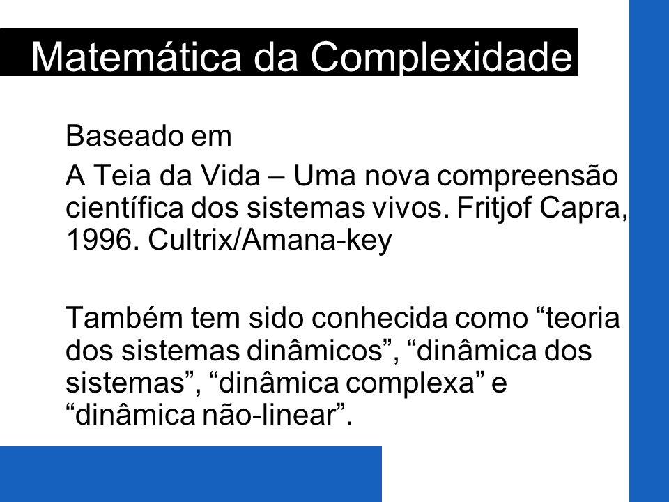 Baseado em A Teia da Vida – Uma nova compreensão científica dos sistemas vivos. Fritjof Capra, 1996. Cultrix/Amana-key Também tem sido conhecida como