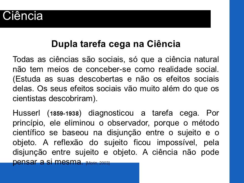 Ciência Dupla tarefa cega na Ciência Todas as ciências são sociais, só que a ciência natural não tem meios de conceber-se como realidade social. (Estu