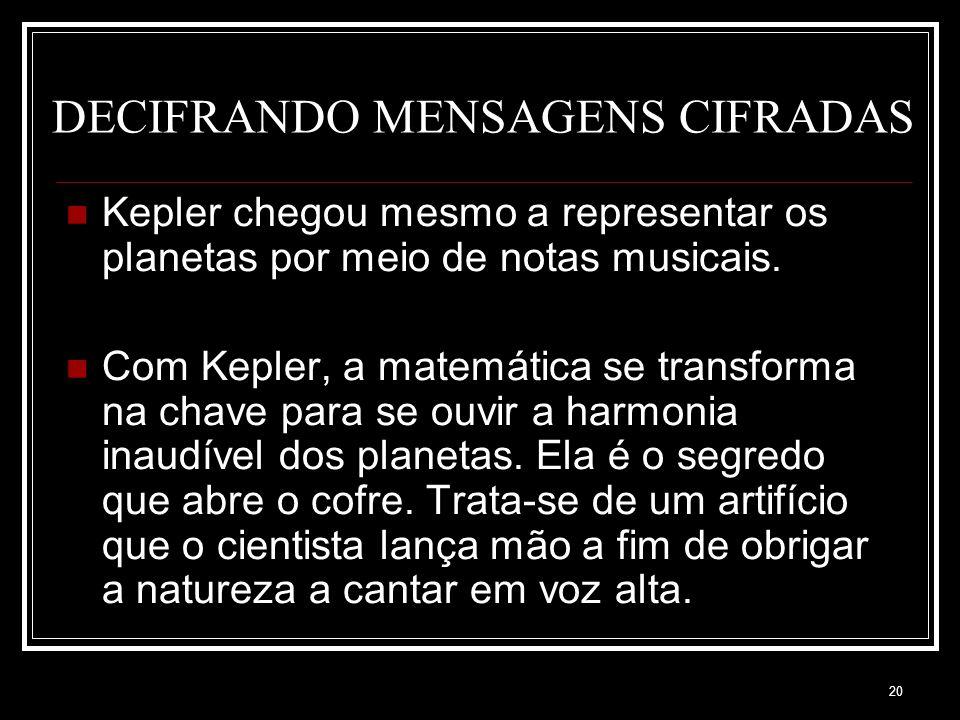 19 DECIFRANDO MENSAGENS CIFRADAS Antes de Kepler, Pitágoras (o quadrado da hipotenusa é igual à soma dos quadrados dos catetos) e seus seguidores tamb