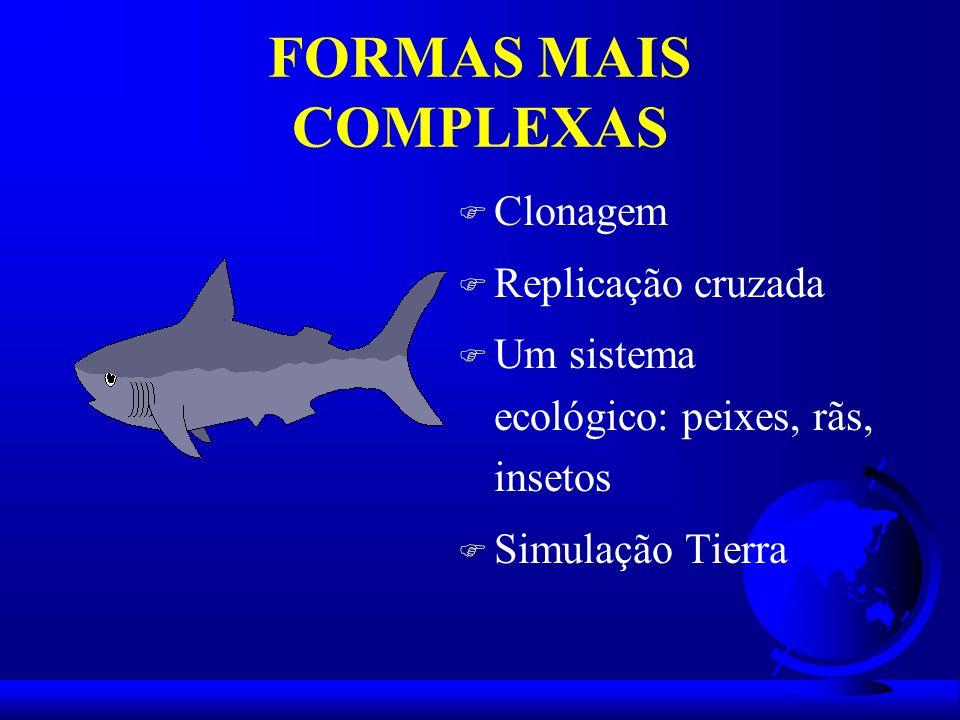 FORMAS MAIS COMPLEXAS F Clonagem F Replicação cruzada F Um sistema ecológico: peixes, rãs, insetos F Simulação Tierra