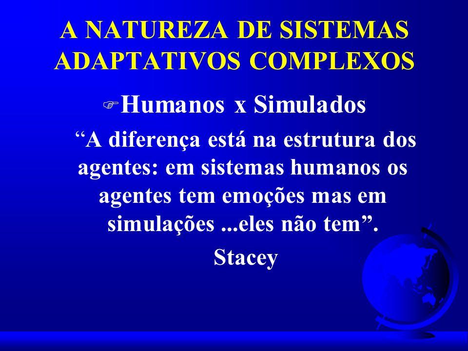 A NATUREZA DE SISTEMAS ADAPTATIVOS COMPLEXOS F Humanos x Simulados A diferença está na estrutura dos agentes: em sistemas humanos os agentes tem emoçõ