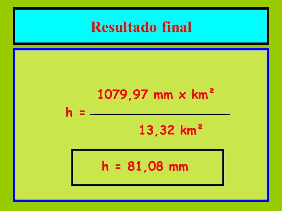 1079,97 mm x km² h = 13,32 km² h = 81,08 mm Resultado final