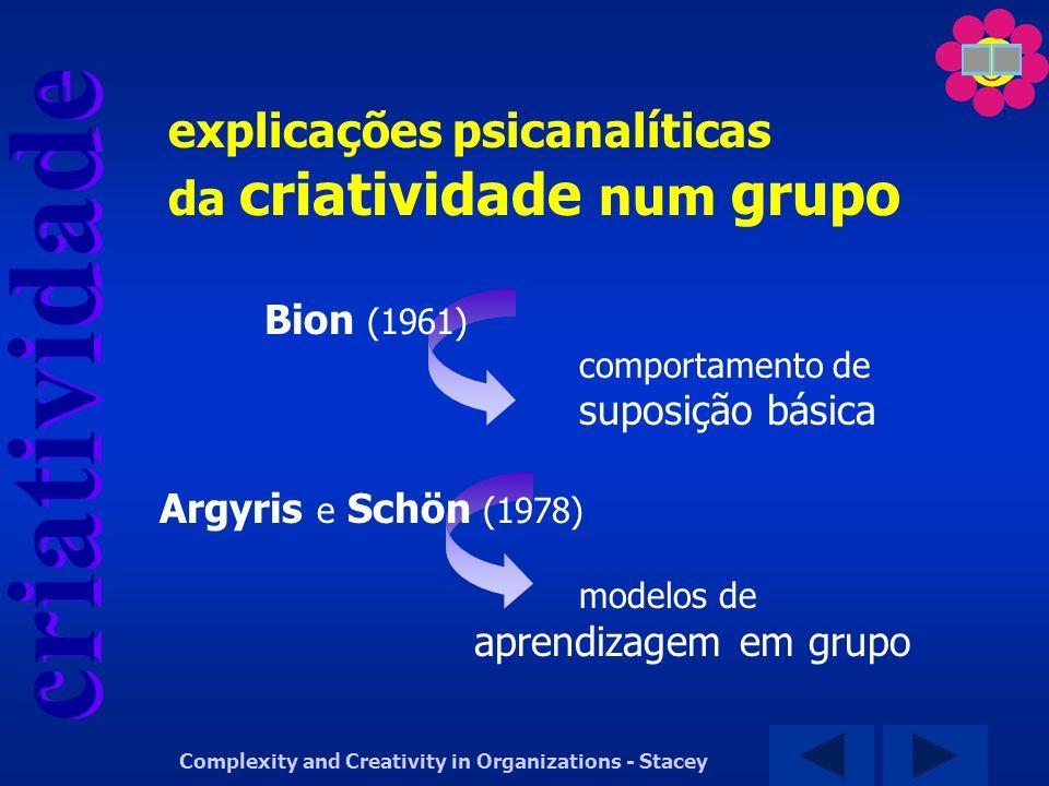 criatividade Complexity and Creativity in Organizations - Stacey Bion (1961) comportamento de suposição básica Argyris e Schön (1978) modelos de apren
