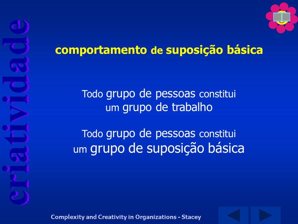 criatividade Complexity and Creativity in Organizations - Stacey Todo grupo de pessoas constitui um grupo de trabalho Todo grupo de pessoas constitui