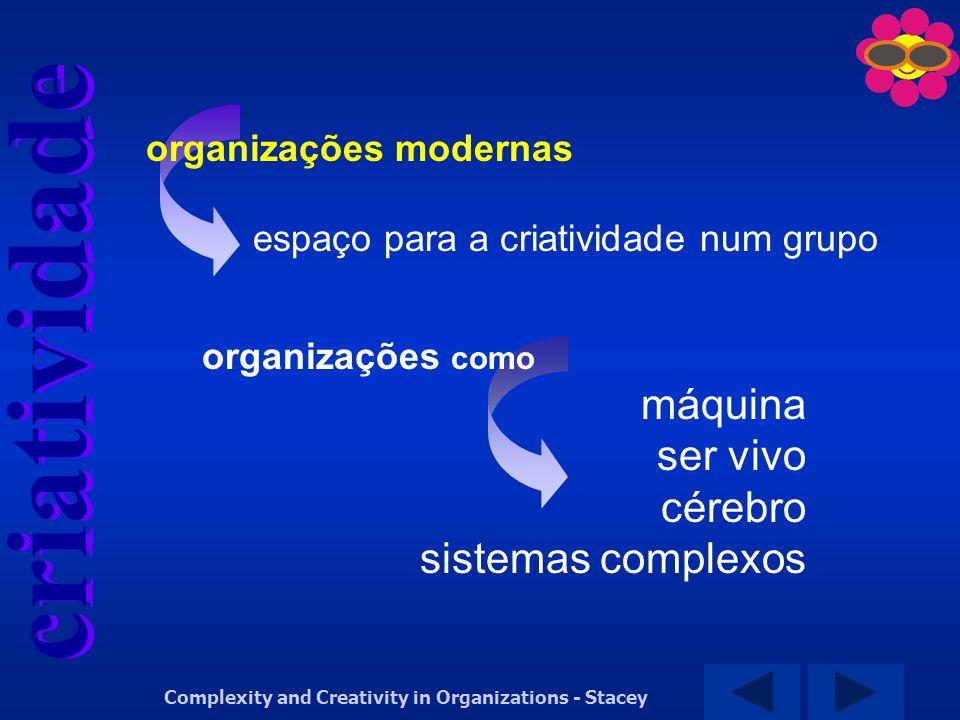 criatividade Complexity and Creativity in Organizations - Stacey organizações modernas espaço para a criatividade num grupo organizações como máquina