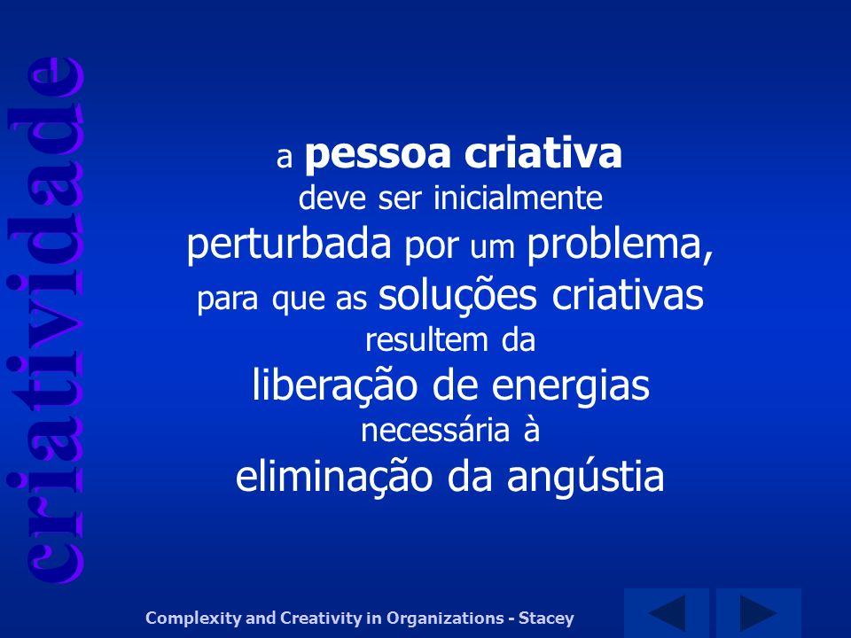 criatividade Complexity and Creativity in Organizations - Stacey a pessoa criativa deve ser inicialmente perturbada por um problema, para que as soluç
