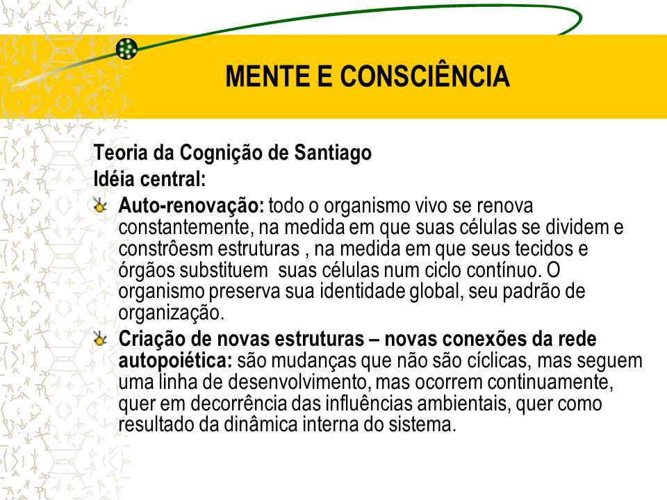 MENTE E CONSCIÊNCIA Teoria da Cognição de Santiago Idéia central: Auto-renovação: todo o organismo vivo se renova constantemente, na medida em que sua