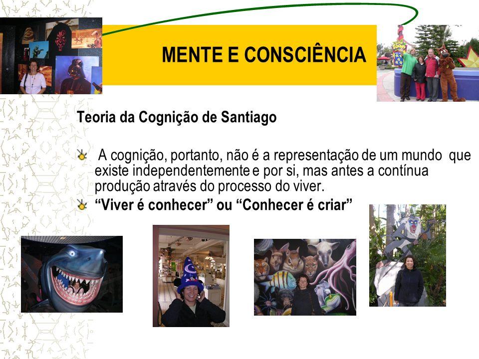 MENTE E CONSCIÊNCIA Teoria da Cognição de Santiago A cognição, portanto, não é a representação de um mundo que existe independentemente e por si, mas