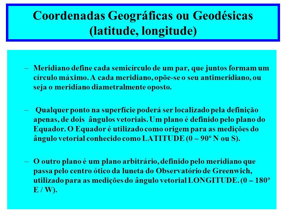 Modelo Elipsoidal LATITUDE E LONGITUDE GEODÉSICAS Modelo Elipsoidal Latitude- Ângulo entre a Normal ao Elipsóide no ponto e o plano do Equador.