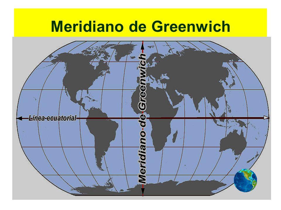 É o MERIDIANO que passa sobre a localidade de GREENWICH (no Observatório Real em Londres) Que, por convenção, divide o globo terrestre em ocidente e oriente, permitindo medir a longitude.