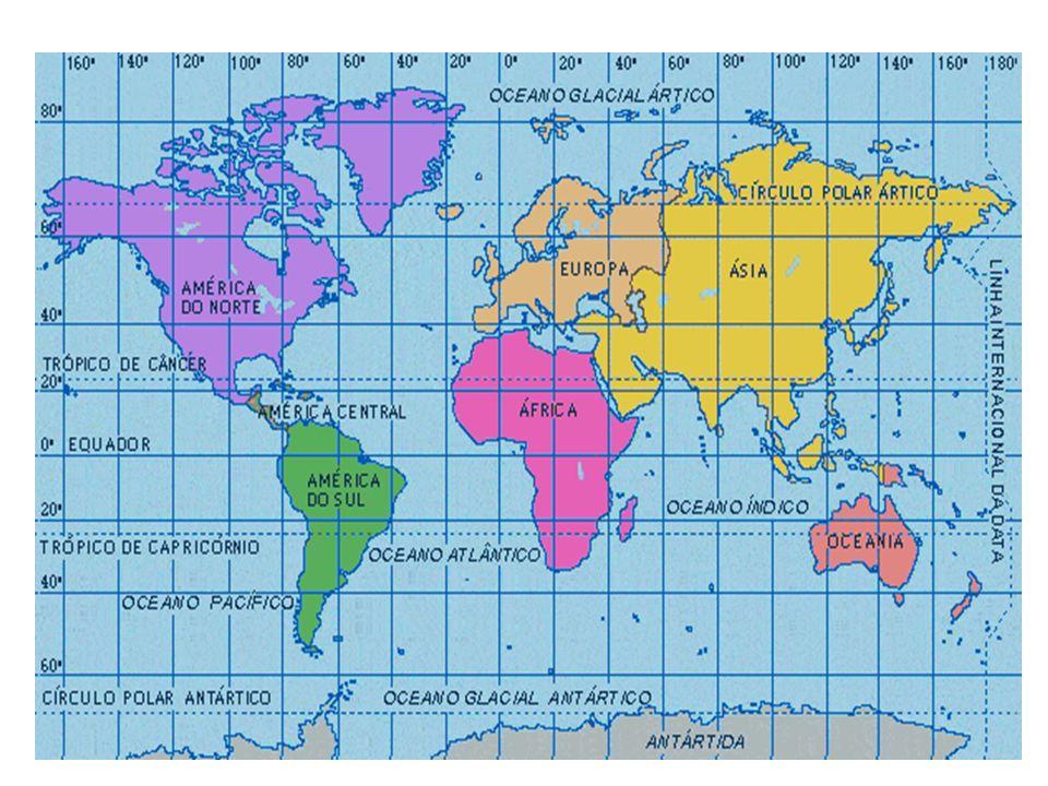 SISTEMA DE COORDENADA UTM A projeção de Mercator divide a terra em 60 fusos com 6 graus de longitude cada.