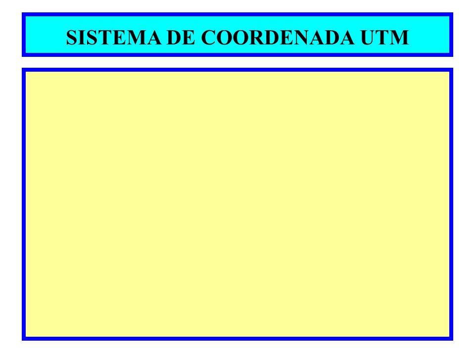 Sistema de Projeção Universal Transversa de Mercator UTM Baseado na Projeção Conforme de Gauss, surge em 1947 para determinação de coordenadas retangulares de cartas militares O mapeamento sistemático do Brasil é feito na projeção UTM a superfície de projeção é um cilindro transverso secante à esfera e a projeção é conforme; O meridiano central (MC) da região de interesse, o equador são representados por retas; Os outros meridianos e os paralelos são curvas; A Terra é dividida em 60 fusos ou zonas de 6 o de longitude; O meridiano central do fuso possui fator de escala = 0.9996 (redução); Linhas de verdadeira grandeza estão a aproximadamente 1 o 37do MC do fuso; Sua aplicação limita-se as Latitudes 80 o N e 80 o S; Apesar da característica universal de projeção, enfatiza-se que o elipsóide de referência varia em função da região da superfície terrestre.