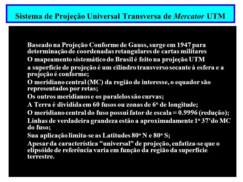 Superficie de desenvolvimento: Cilindro Transverso secante a Esfera Utilização - Mapeamentos Topográficos; - Base para a projeção UTM Universal Transversa de Mercator