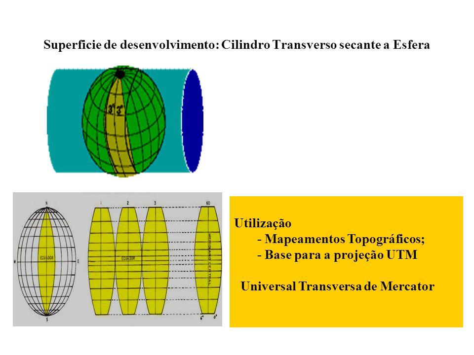 Superficie de desenvolvimento: Cilindro Transverso secante a Esfera Utilização - Mapeamentos Topográficos; - Base para a projeção UTM Universal Transv