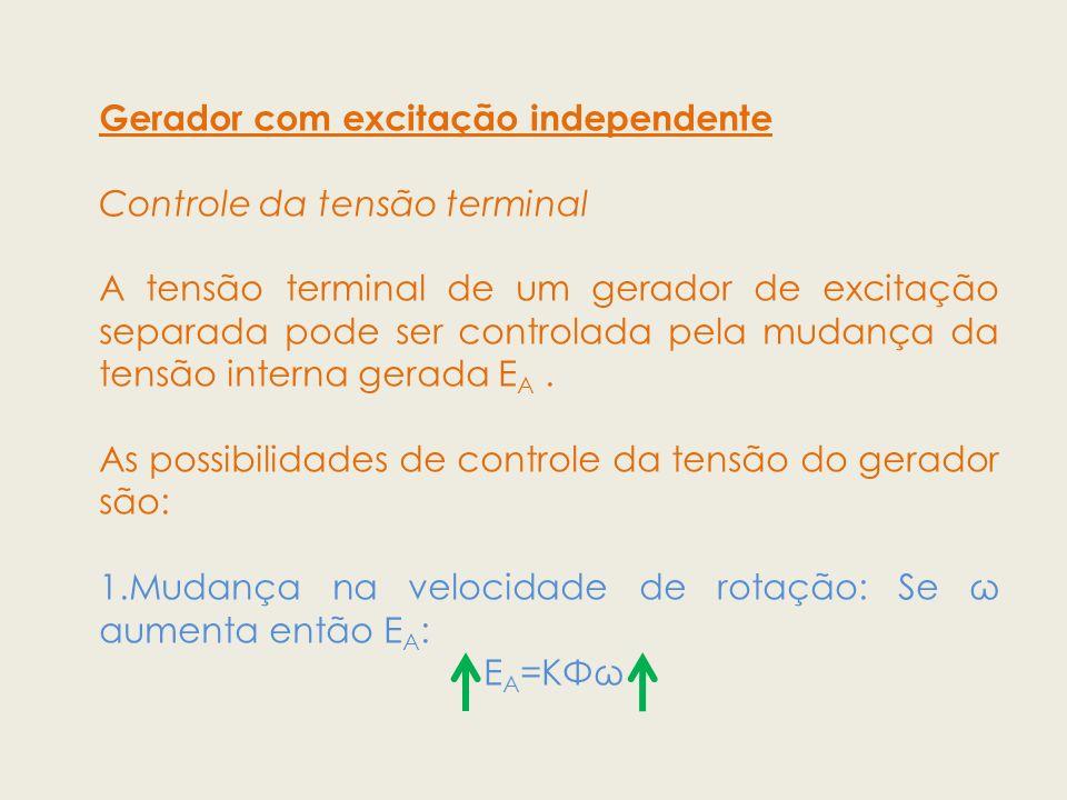 Gerador com excitação independente Controle da tensão terminal A tensão terminal de um gerador de excitação separada pode ser controlada pela mudança