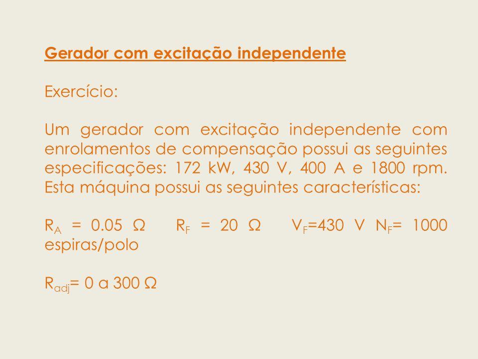 Gerador com excitação independente Exercício: Um gerador com excitação independente com enrolamentos de compensação possui as seguintes especificações