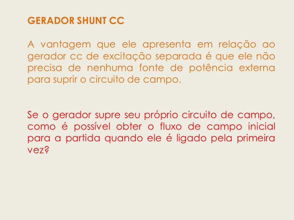 GERADOR SHUNT CC A vantagem que ele apresenta em relação ao gerador cc de excitação separada é que ele não precisa de nenhuma fonte de potência extern