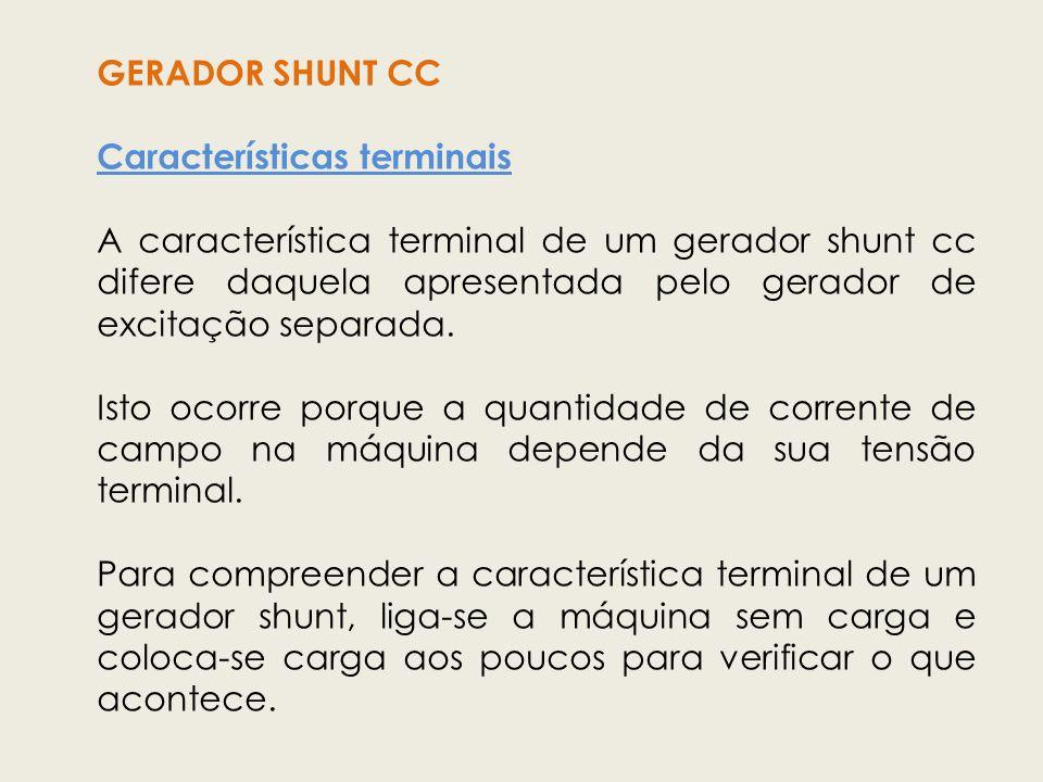 GERADOR SHUNT CC Características terminais A característica terminal de um gerador shunt cc difere daquela apresentada pelo gerador de excitação separ