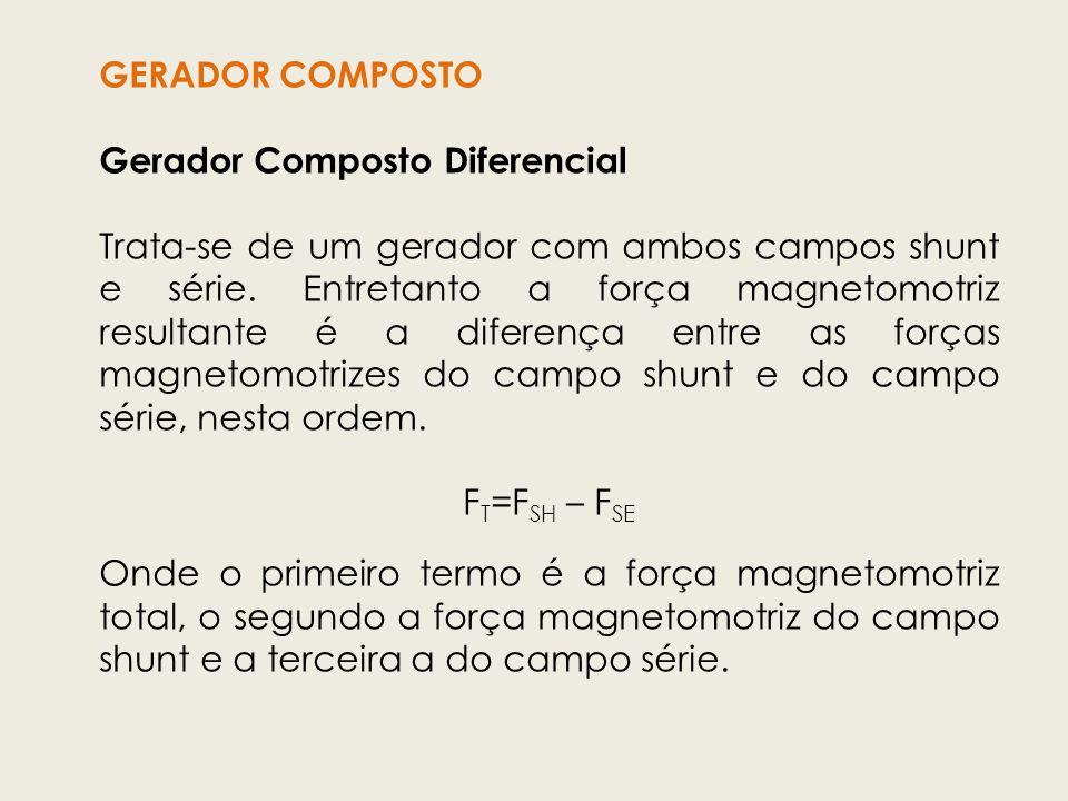 GERADOR COMPOSTO Gerador Composto Diferencial Trata-se de um gerador com ambos campos shunt e série. Entretanto a força magnetomotriz resultante é a d