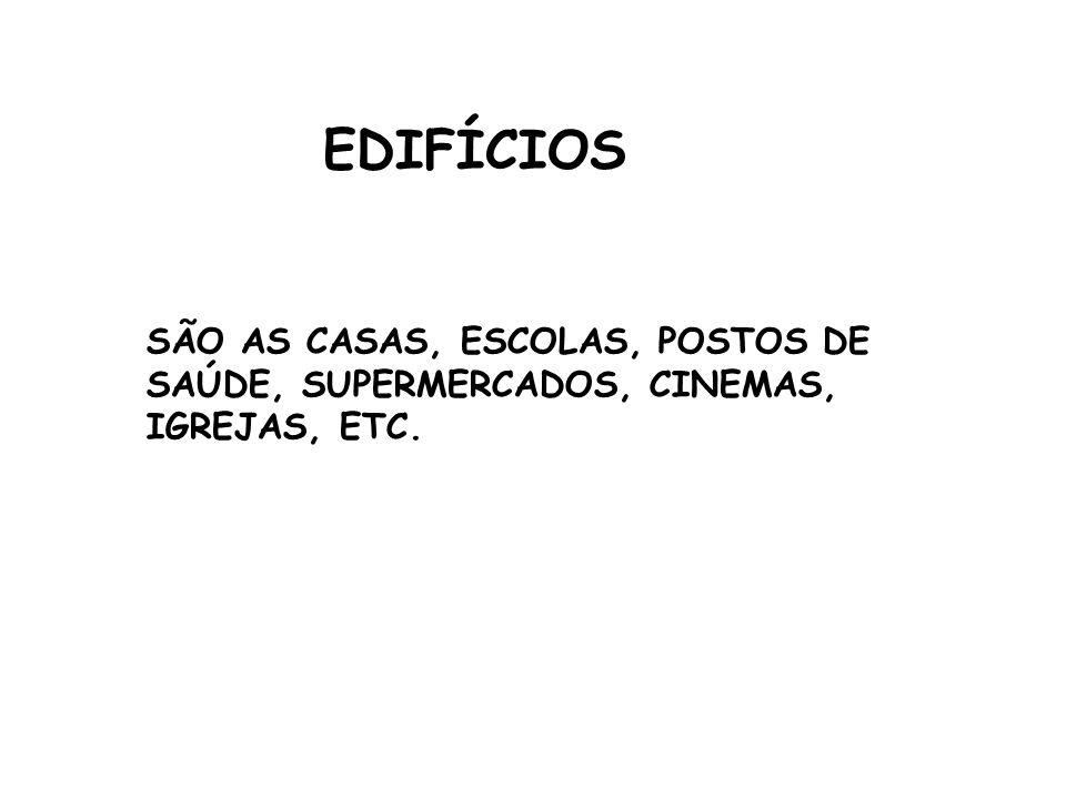 EDIFÍCIOS SÃO AS CASAS, ESCOLAS, POSTOS DE SAÚDE, SUPERMERCADOS, CINEMAS, IGREJAS, ETC.